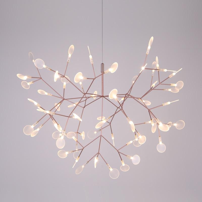 Diameter 72cm Silver Modern Heracleum Tree Leaf Pendant Light LED Lamp Suspension Lamps Living Room Art Bar Iron Restaurant|Pendant Lights| |  - title=
