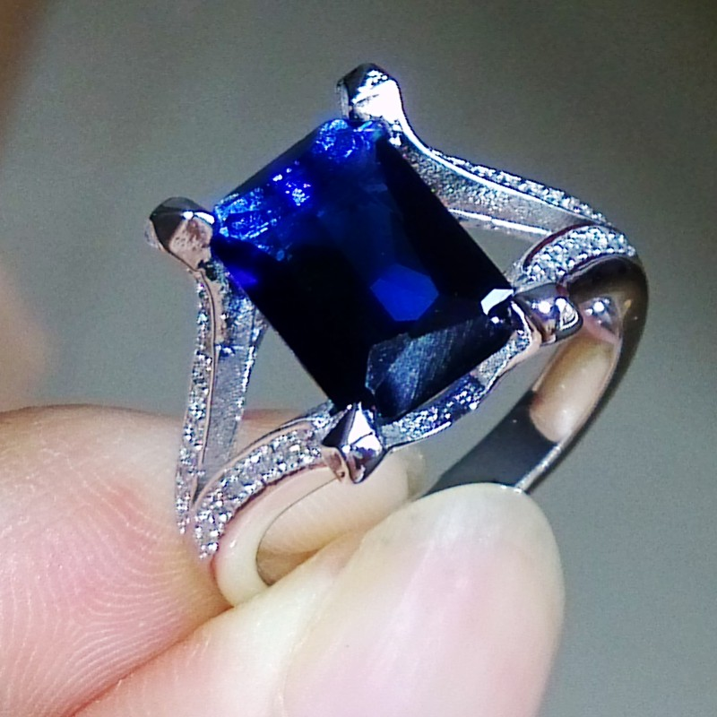 Victoira Wieck 5ct Luxury Jewelry Vintage 925 Sterling Silver Blue ...