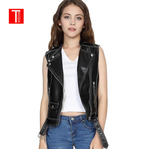 0879693f2fbf0 2018 New Fashion Women Spring Autunm Black Faux Leather Vest Jackets Lady  Bomber Motorcycle Cool Outerwear Coat with Belt