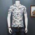 2017 Summer Hollow T-Shirt Mens Breathable Round Collar Men's T Shirts Ice Silk Velvet Print Tee Shirt Short Sleeve Tops Male