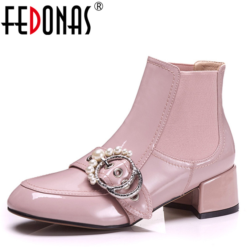 FEDONAS 1Fashion Women Ankle Boots Autumn Winter Warm Patent Leather High Heels Shoes Woman Pearl Buckle