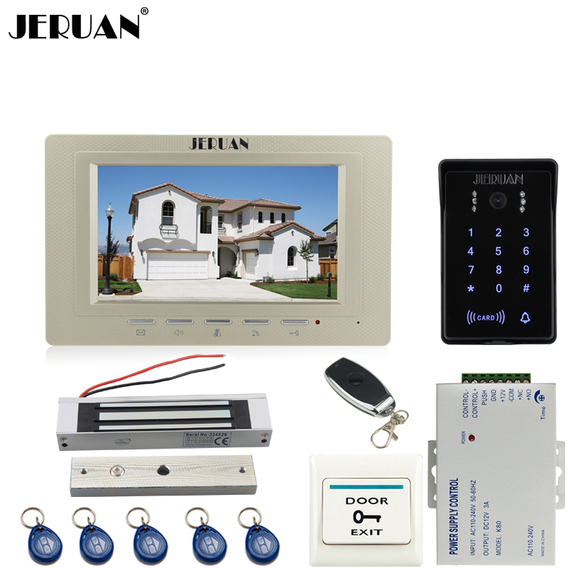 цена на JERUAN 7 inch TFT video door phone intercom system RFID waterproof touch key password keypad camera + power +180kg magnetic lock