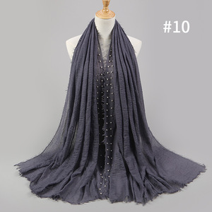 Image 2 - Bufanda Lisa Hijab de algodón con perlas clavadas para mujer, pañuelo para la cabeza con flecos, pañuelos musulmanes/bufanda de gran tamaño