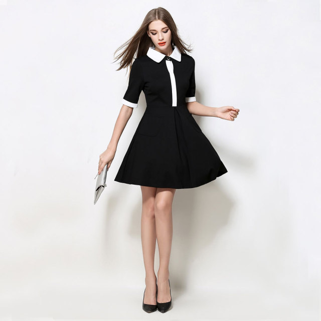 High Quality Summer Autumn Women Dress Elegant Black Peter