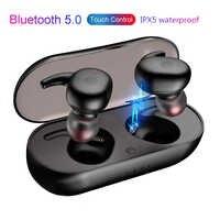 TWS Cuffie Bluetooth 5.0 Auricolari Senza Fili di Sport del Trasduttore Auricolare 3D Suono Stereo Auricolari con Microfono Portatile e scatola di Carico