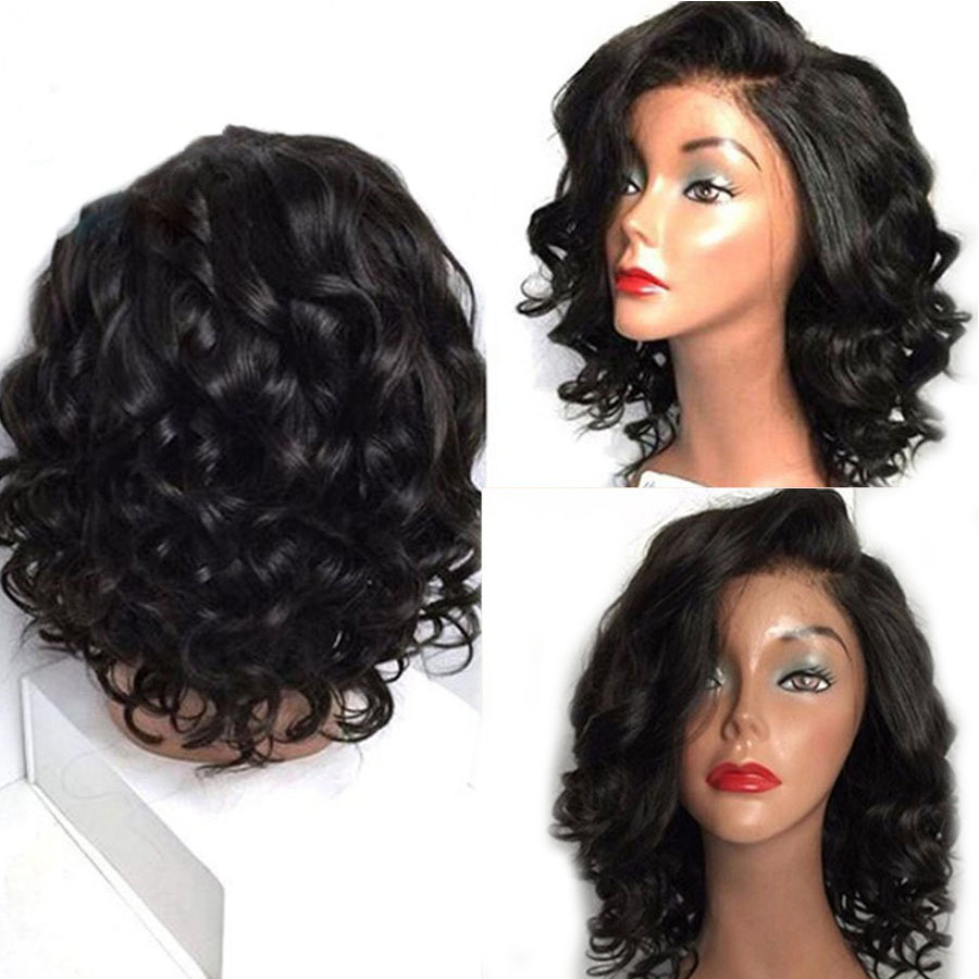 Glueless Lace Front Human Hair Wigs Pre Plucked Short