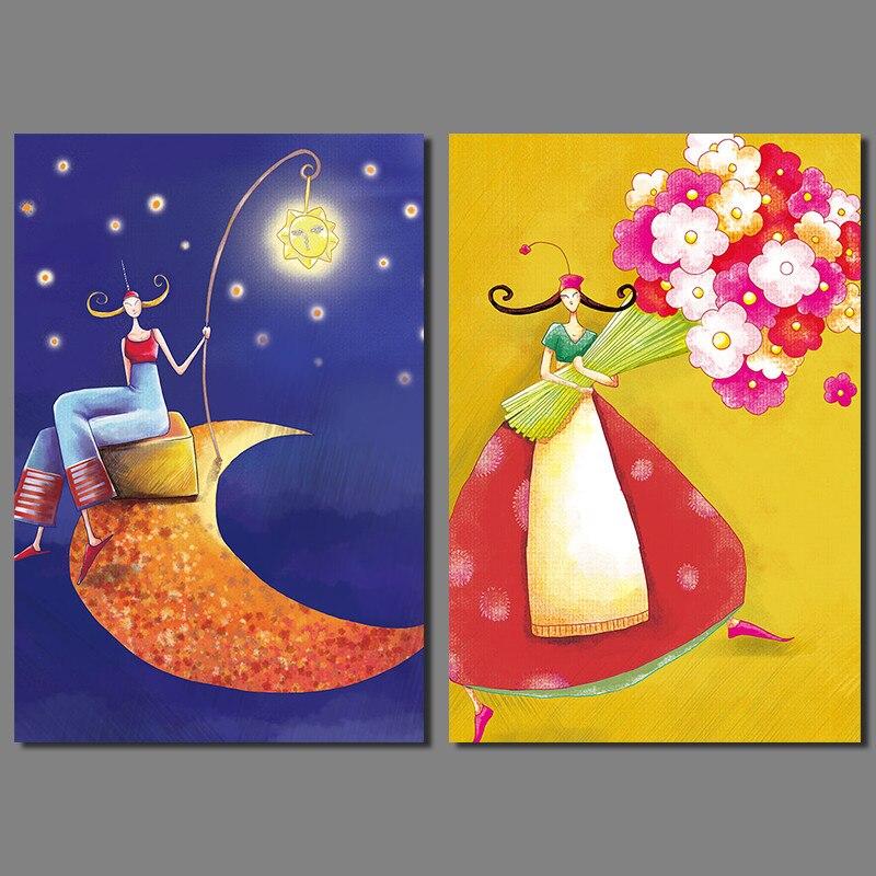 Nº2pcs Set Stars Moon Girl Decoration Flowers Wall Art Picture