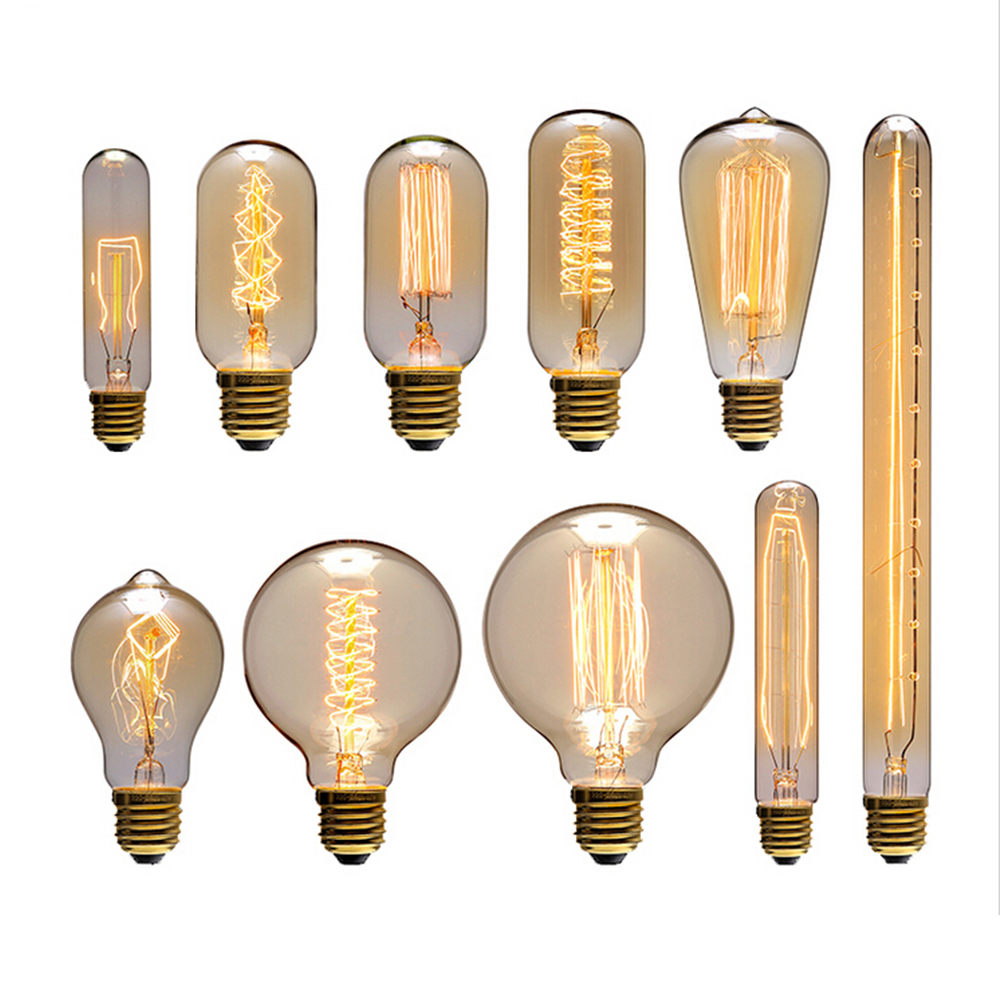 Hot 40W Long Life Edison Style Bulb Vintage Antique Style Glass Light E27 Base Lamp for Home or Commercial Decoration Lighting