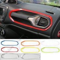8Colors Red Blue ABS Co-pilot Position Dashboard Air Conditioning Vent Decoration Frame Cover Trim for Jeep Renegade 2015 2016