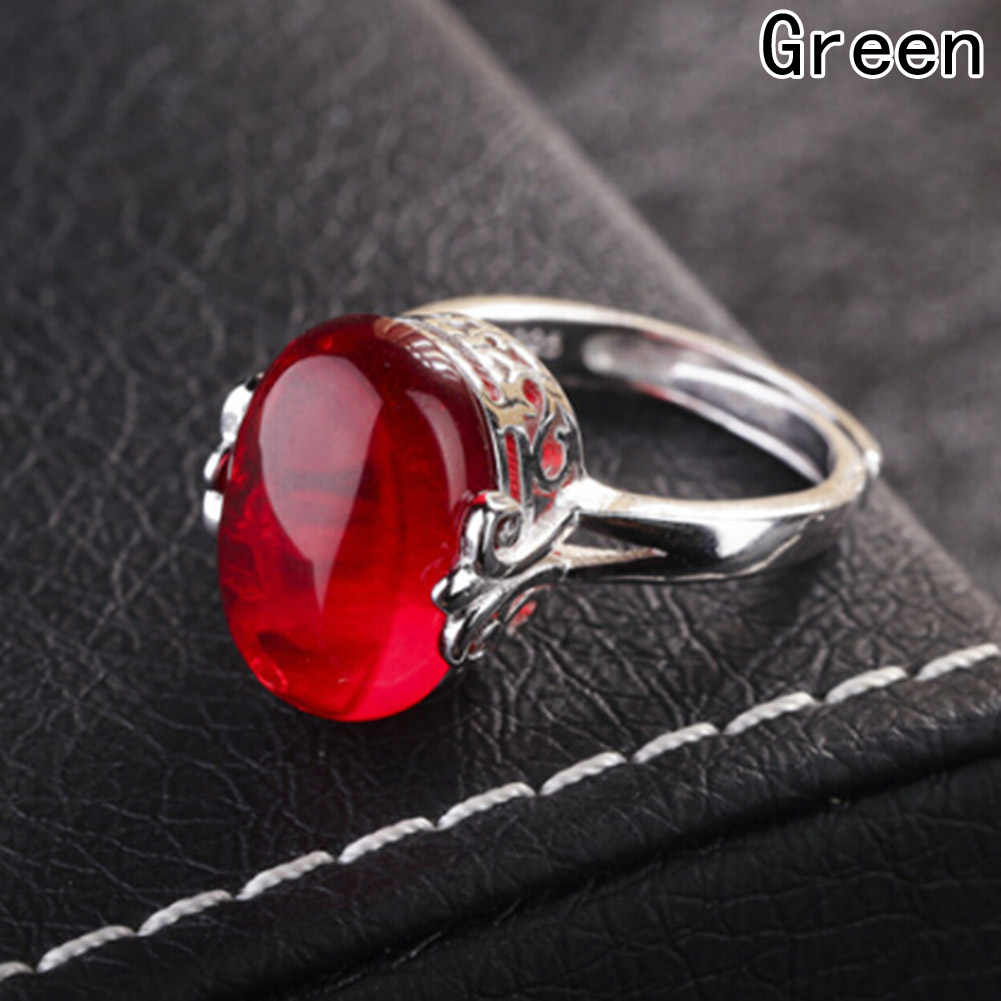 Silver Color Wedding Ring Synthetic Rubis Ring Open Ring Luxury 4 colors Corundum Rings for Women Gift