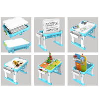 Free Blackboard Pen and Blocks Large Size Multi function Foldable Table with Chair Compatible LegoINGlys Minifigure and Bricks