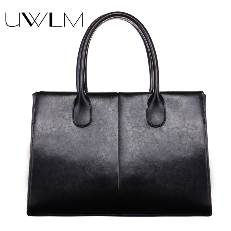 UWLM Real Genuine Cow Leather Handbags Big Women Totes Bags Female Fashion Designer High Quality Office Ladies Top Handle Bags