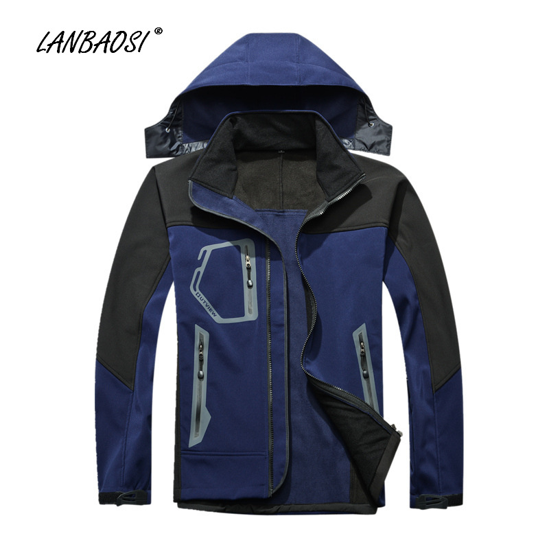 LANBAOSI Outdoor Sports Men's Softshell Hooded Jackets Windproof Waterproof Anti Scratch Anti-UV Hiking Camping Trekking Outwear