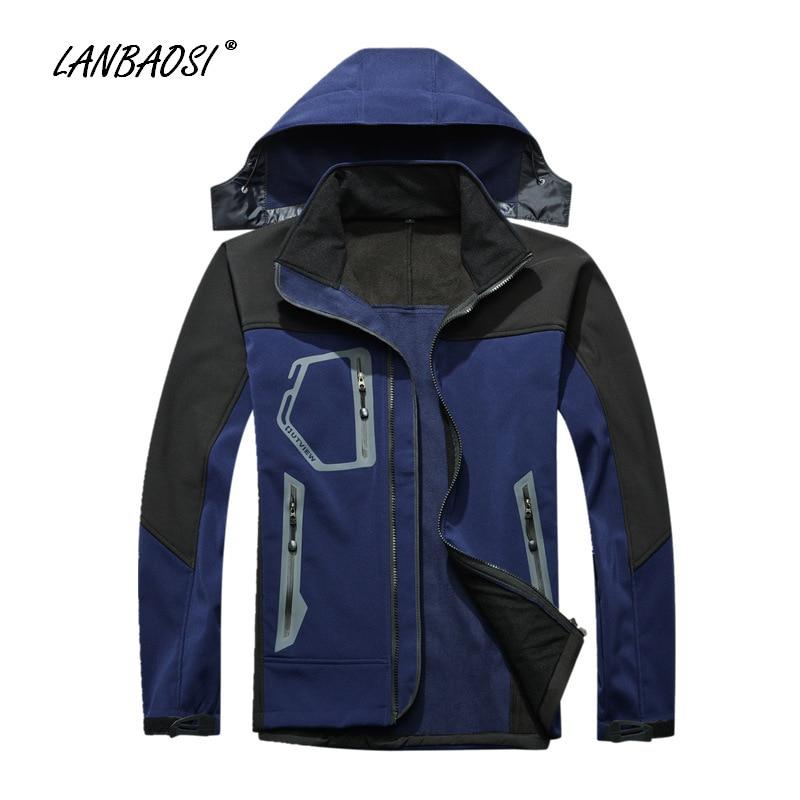 ФОТО LANBAOSI Outdoor Sports Men's Softshell Hooded Jackets Windproof Waterproof Anti Scratch Anti-UV Hiking Camping Trekking Outwear