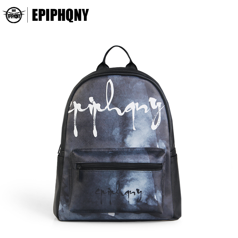 Epiphqny Brand Women Leather Shoulder Bagpack Transparent Pocket Backpack Printing Black Backpack Personality Cloud Design Logo