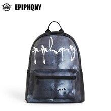 Epiphqny бренд Для женщин кожа плечо Bagpack прозрачный карман рюкзак печати черный рюкзак личность облако Дизайн логотип