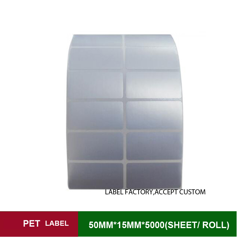 50x15mmx5000sheets per roll Polyethylene label accept customized order with other size ink ribbon sticker