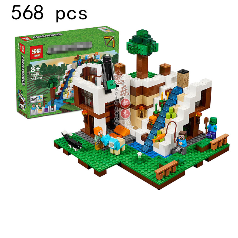 Model building blocks kits compatible with lego 21134 lepin 18028 my worlds Minecraft Waterfall House Building Blocks lepin model building kits compatible with lego 21115 my worlds minecraft the first night educational toys hobbies for children
