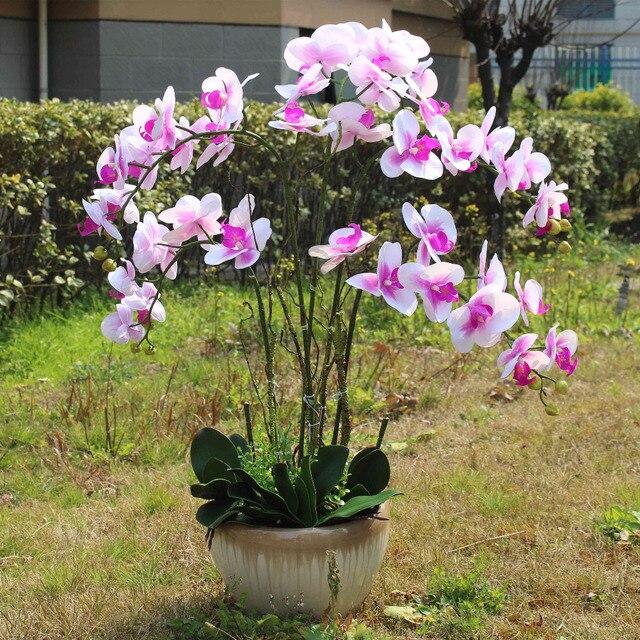 corazón rosa orquídea blanca real touch flor hojas artificiales