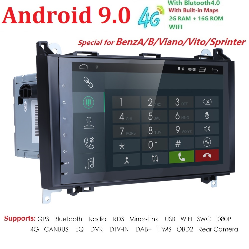 Ossuret Android 9.0 2Din Car DVD GPS for Mercedes Benz B200 A B Class W169 W245 Viano Vito W639 Sprinter W906 Wifi BT FM/AM SWC