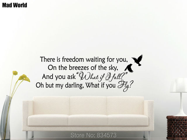 Mad World There Is Freedom Waiting For You Wall Art Stickers Decal Home Diy