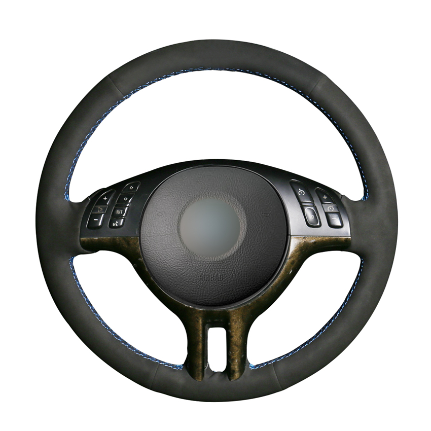 Hand-stitched Black Suede Steering Wheel Cover For BMW 3 Series E46 2000-2005 5 Series E39 2000-2003 E53 X5 1999-2003 Z3