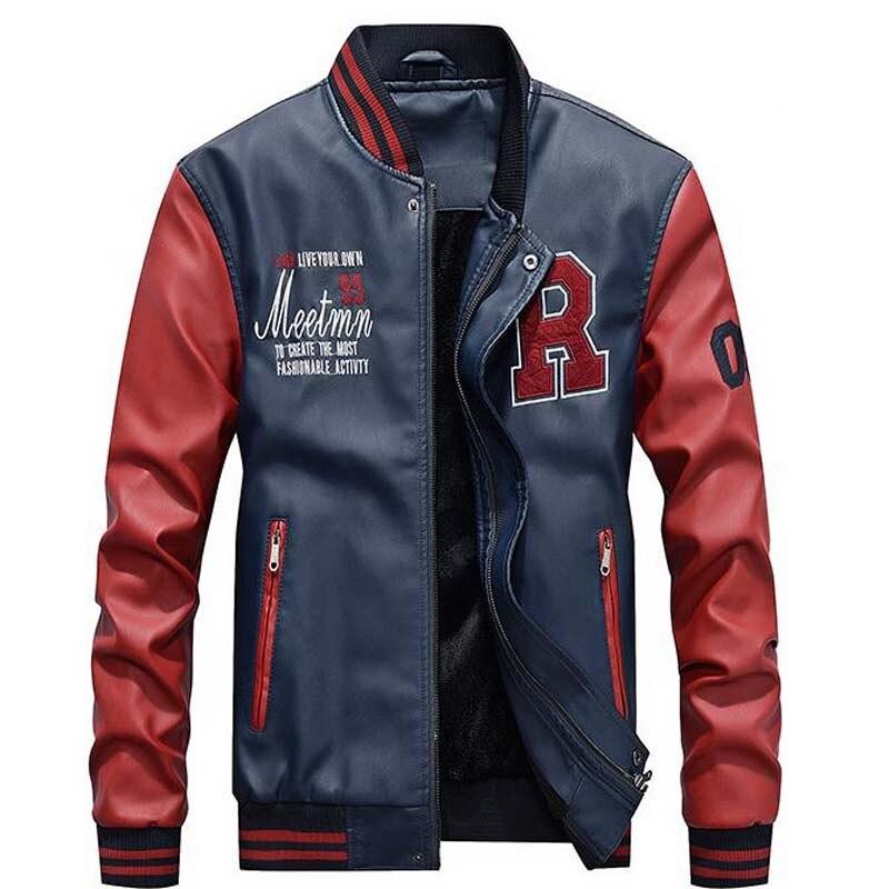 ZHAN DI JI PU Men Faux Leather Jackets Pu Baseball Jacket Mens Outer Casual Coat Man Leisure Outerwear Mans Clothing Tops