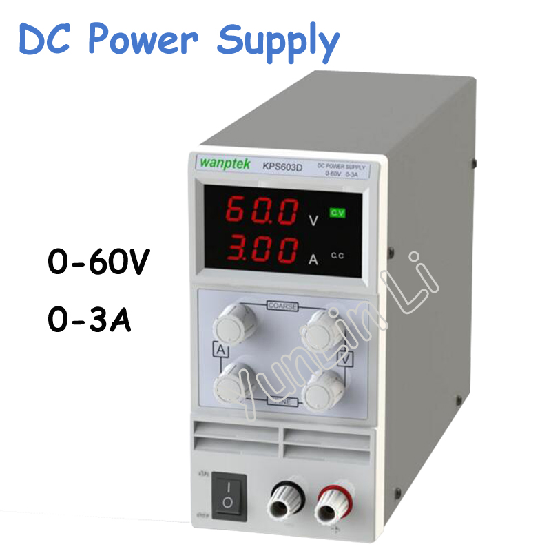 0-60V/ 0-3A Double LED Display Switch DC Power Supply Protection Function 110V-230V 0.1V/0.01A KPS603D switch power kps3010d adjustable high precision double led display switch dc power supply protection function 30v10a 110v 230v