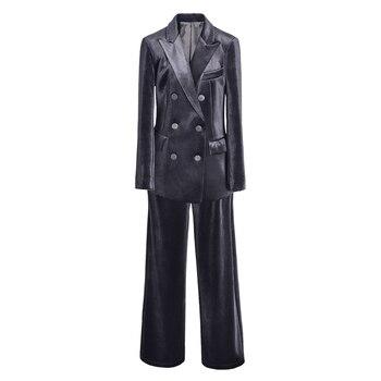Small suit suits womens clothes 2018 autumn winter new gold velvet 2 piece suit sets female temperament slim suit+wide leg pants