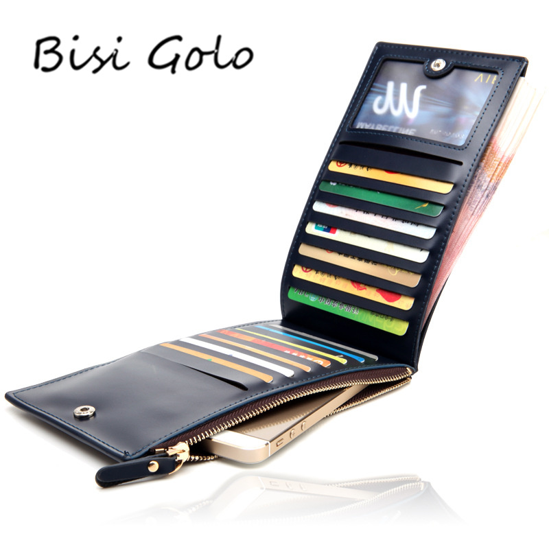 BISI GORO 2018 Men Women Card Holders Leather Long Wallet Big Capacity ID Credit Card Holder Coin Purse Cell Phone Pocket Zipper ...