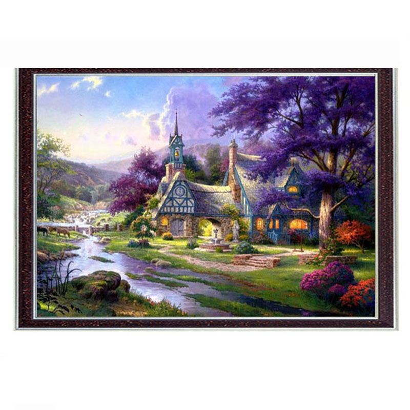 Needlepoint Craft Home decor 14CT unprinted embroidery French DMC Quality Counted Cross Stitch Kit/Set DIY Clocktower Cottage