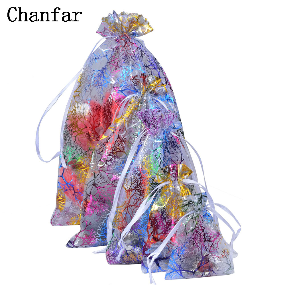Chanfar 7x9cm 9x12cm 10x15cm 13x18cm Favor Wedding Organza Christmas Gift Bags Drawable Packaging Bags & Pouches