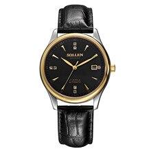 SOLLEN автоматические механические часы мужской таблицы минималистский бизнес 8 мм тонкий кожаный ремешок водонепроницаемый мужские механические часы