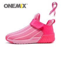 ONEMIX Pink Ribbon Warm Height Increasing Running Shoes for Women Past Winter Zapatillas Mujer Deportivas Sneakers Free Ship