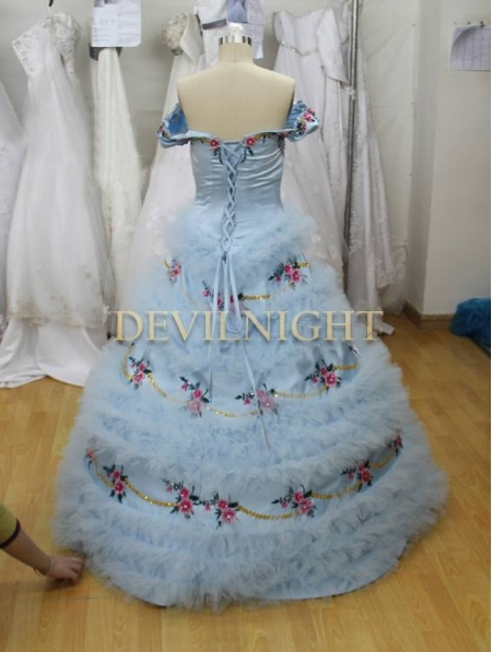 Multi Hors épaule Robe Princesse la Bleu Sisi Victorienne fHqCB