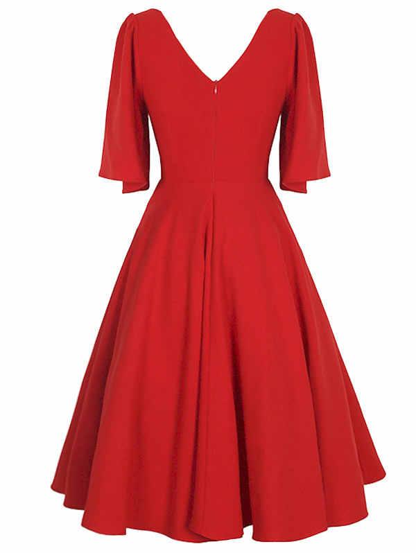 Wisalo/Большие размеры, однотонная расклешенная втулка, винтажная длиной выше колена, расклешенное платье для женщин, v-образный вырез, 3/4 рукав, ТРАПЕЦИЕВИДНОЕ ПЛАТЬЕ, женское платье, Vestidos