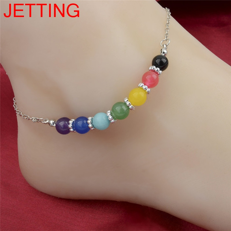 Crystal Bead Anklet Silver Flower Metal Seven Chakra Anklet For Women Fashion Jewelry