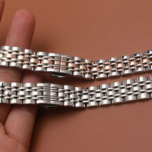 Solid Stainless Steel Watchband butterfly clasp Metal Wristwatches Band rose gold silver 14mm 16mm 18mm 20mm 22mm for lady men стоимость