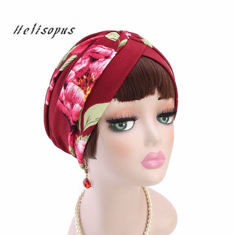 Helisopus 2019 New Fashion Flower Print Turban Vintage Plaid Striped Bandanas Headwear Chemo Hijab Women Hair Accessories