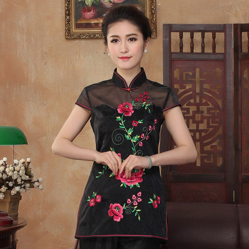 Marque nouveauté Tradition chinoise femmes dentelle broder fleur Blouses chemise hauts S M L XL XXLWNJT10017