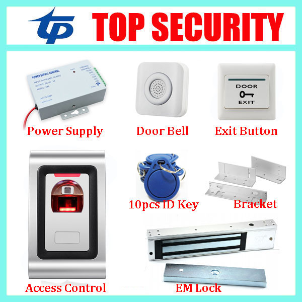 Metal standalone Fingerprint Access Control, without software+power supply+magnetic lock+bracket+exit button+bell+10pcs RFID key