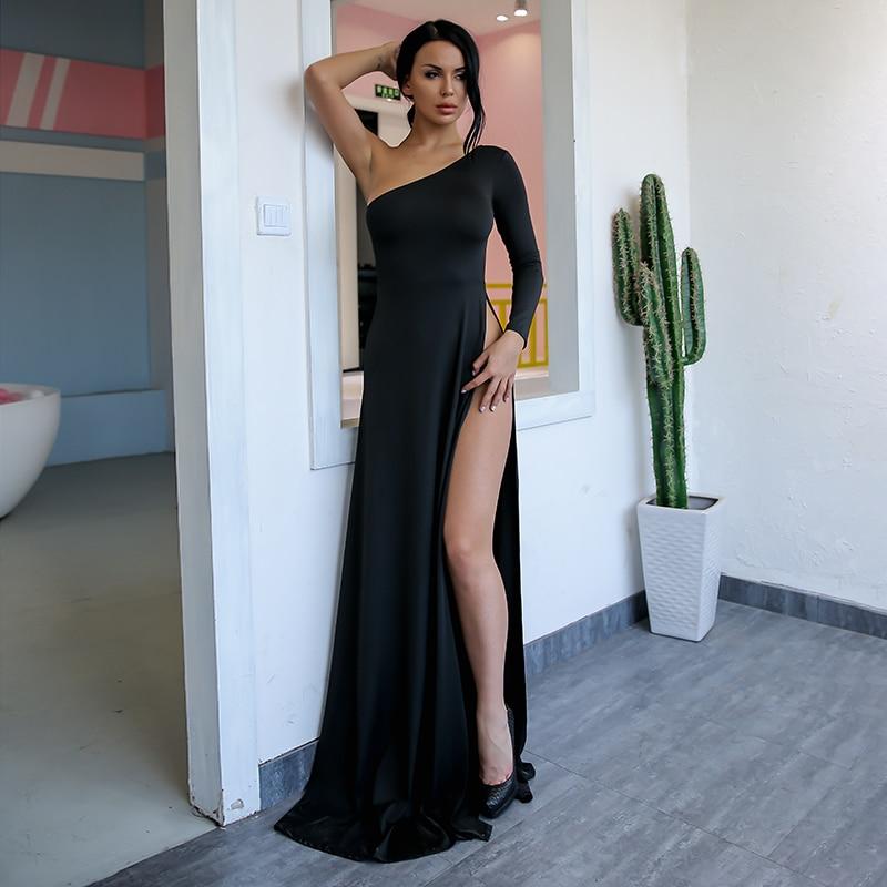 One Shoulder Black High Split Leg Elegant Long Dress