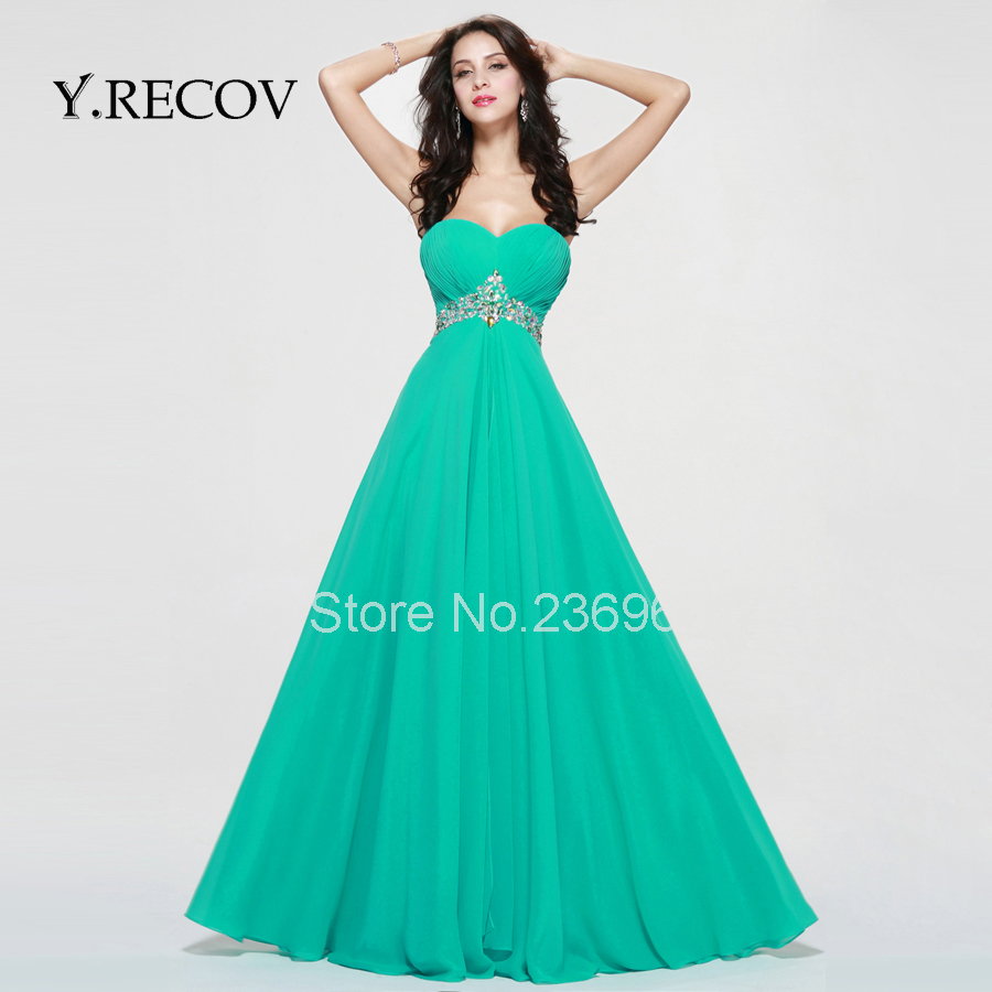 Winter Formal Gowns YD2345 A line Sweetheart Blue Chiffon Long ...