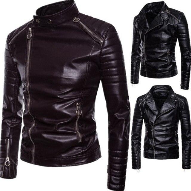 c70047ddecef € 38.8 6% de DESCUENTO|2018 chaqueta de cuero para hombre Motercycle Moto  Biker para hombre chaquetas de cuero de imitación y abrigos chaqueta cuero  ...