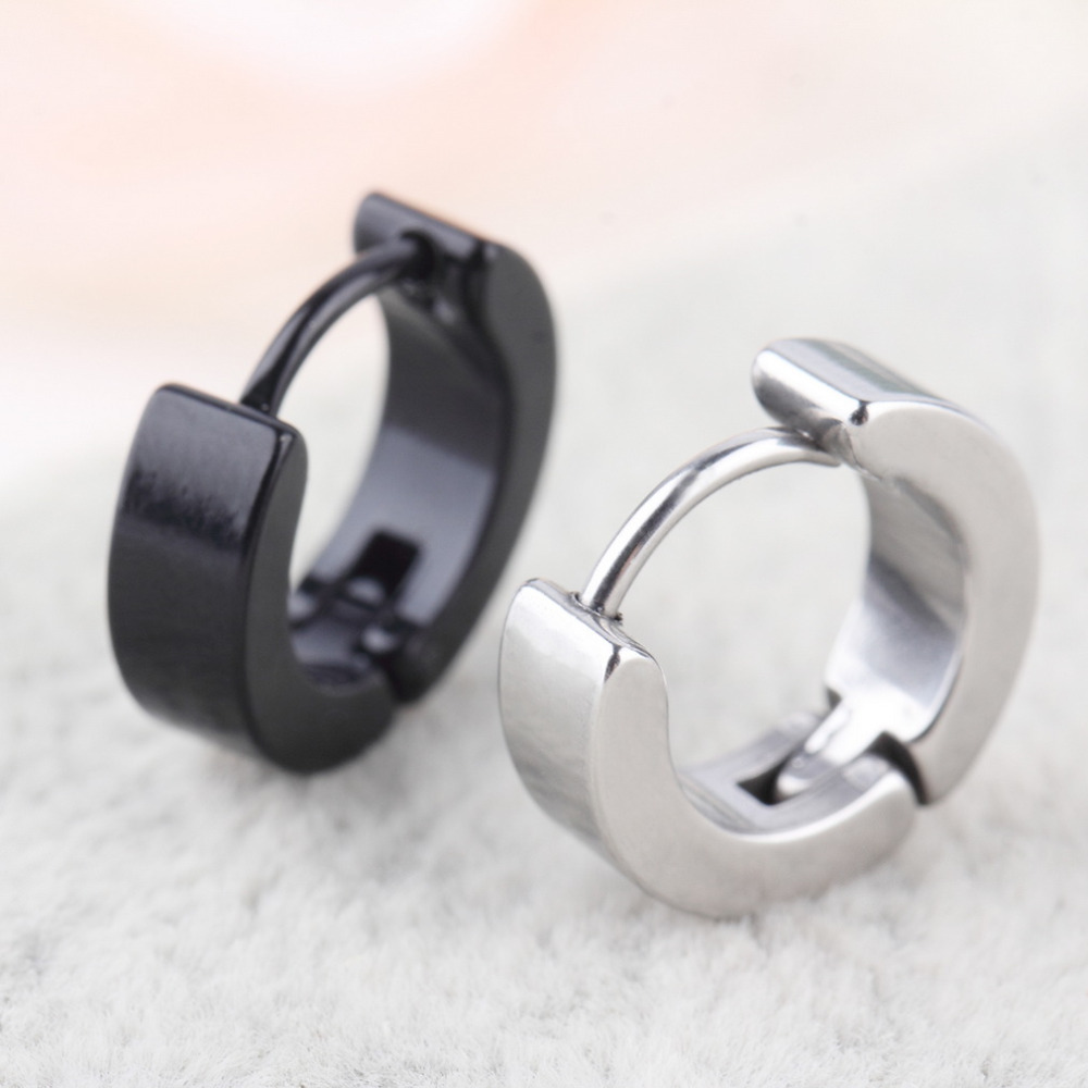 Chic 1Pair Cool Punk Men's Stainless Steel Hoop Piercing Round Earring Ear Stud Men Jewelry Cheap Fashion 2019