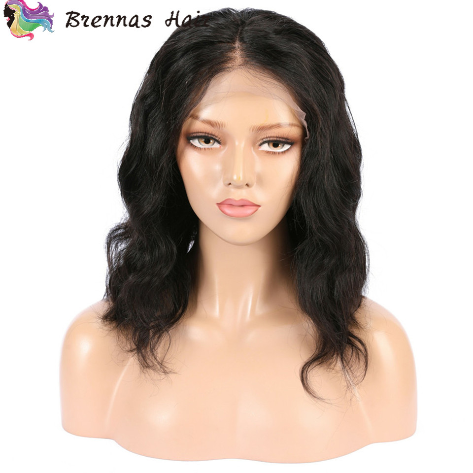 Brennas Hair Body Wavy Short Bob Wigs Lace Front Human Hair Wigs For Black Women Pre Plucked Peruvian Remy Hair Wigs Baby Hair