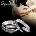 Especial moda de nueva pareja anillos 925-Sterling-Silver cuento de hadas boda de la pluma suena el envío gratis para chicas mujeres JZ150405