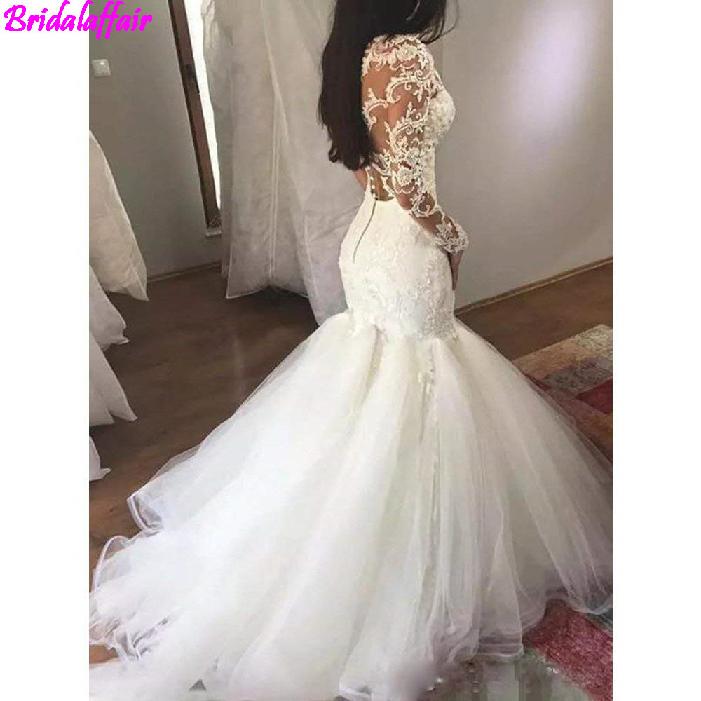Image 2 - Women's Luxury V neck Mermaid Wedding Dress White Long Sleeves Wedding Gown Lace Illusion vestido de noiva 2019-in Wedding Dresses from Weddings & Events