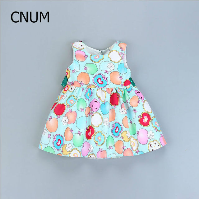 2017 Girls Dresses Printed Cotton Fruit New Child Princess Dresses Summer Children's Clothes Candy Color Baby Girls Dresses