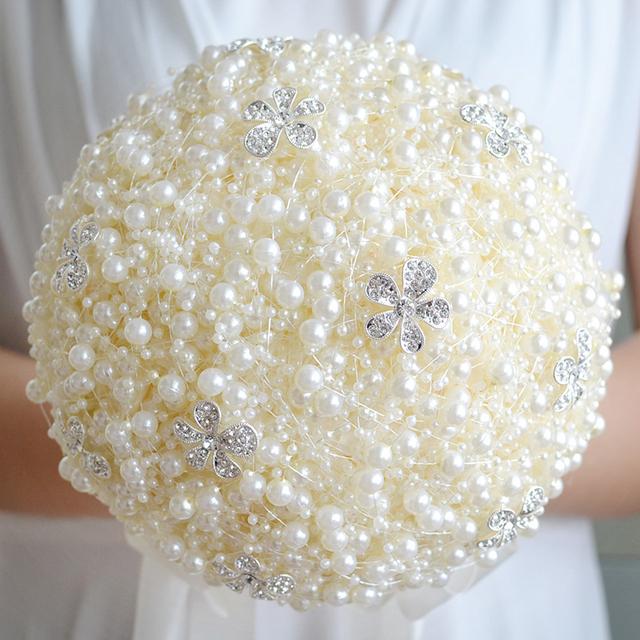 Bodas Únicas de lujo Perlas y Broche Ramo de Novia Ramo de Novia Que Sostiene Las Flores Flores de La Boda Perlas de Boda FE20